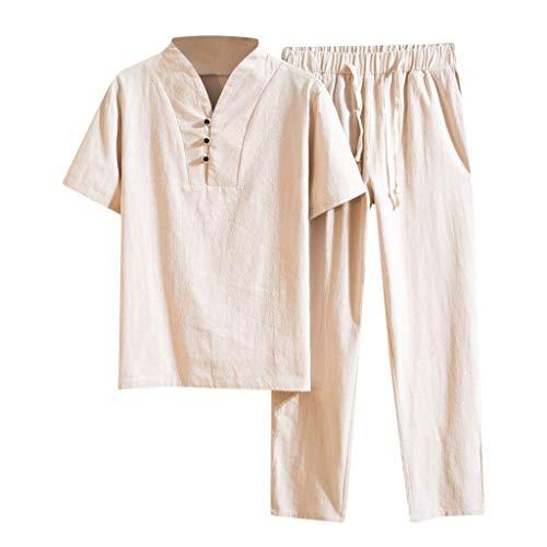 Younthone Bekleidung, Sport Anzüge Baggy,Solide Kurzarm Retro Top Pant Anzüge Yoga eingestellt Baumwolle T Shirts Top Pant Anzüge Herren (XXXXL,Khaki)