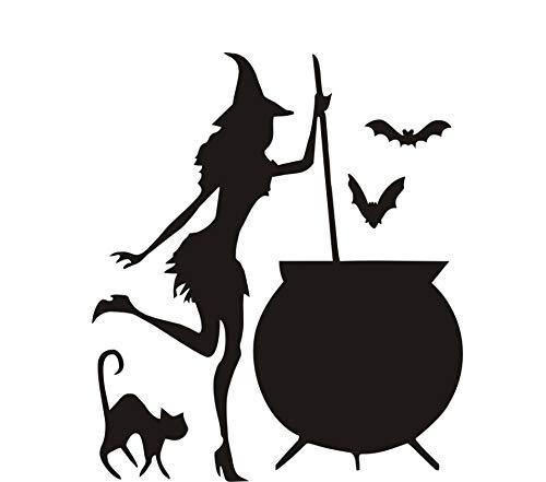 Wandaufkleber hexenkessel trank bat schwarze katze vinyl diy papier kunst tapete hause halloween dekoration zubehör 43 * 37 cm