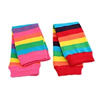 Baby Kids Boys Girls Pink Red Rainbow Leg Warmers - TWIN PACK (6 MTHS UPTO 8 YRS OLD)(Size: One Size)