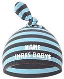 Baby Mütze Bedruckt mit Namen des Kindes (Farbe hellblau/grau)(Gr. 1 (0-74))