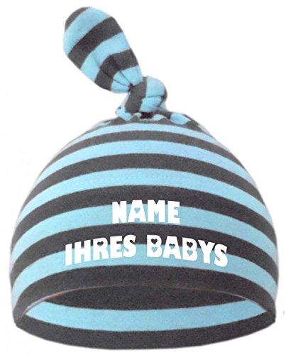 Baby Mütze bedruckt mit dem NAMEN des Kindes / in 9 Farben, Hellblau-Grau, Gr. 2 (74 - 98)
