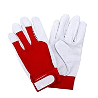 Allsunny Gloves 2Pcs Mechanical Work Welding Faux Leather Anti-static Non-slip Car Repair Gloves Red