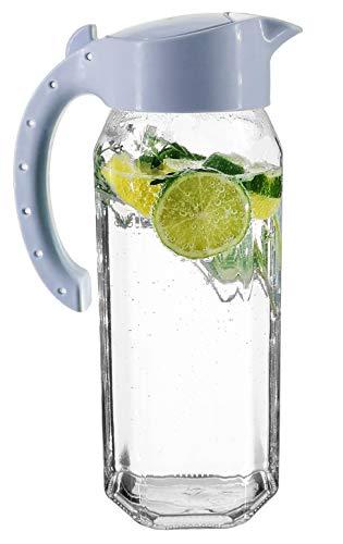 My-goodbuy24 Wasserkaraffe 1,5 Liter   Höhe 27,3 cm   Glas   sechskantglas   Saftkrug   Kühlschrankkrug   Wasserkrug   hochwertige Qualität - Pastell Blau - BPA Free