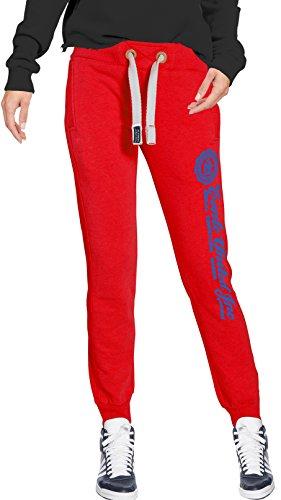 M.Conte Pantaloni Jogging per Donna in Felpa Skin Lunghi, Sweat-Pants tuta Grigio Melange Blu Celeste Lila Rosso Bianco Blu Azzurro , Taglia S M L XL Ramona, My Red, Large