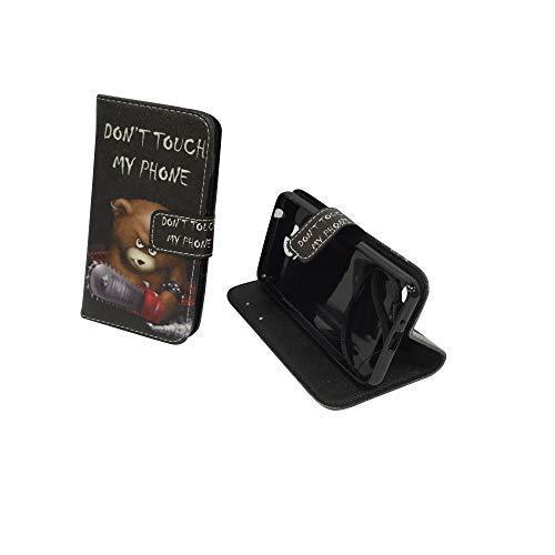 König-Shop Handy-Hülle für Huawei Y3 II Klapp-Hülle aus Kunst-Leder | Sturzsichere Flip-Case in Schwarz | Im Don't Touch My Phone Teddybär Motiv