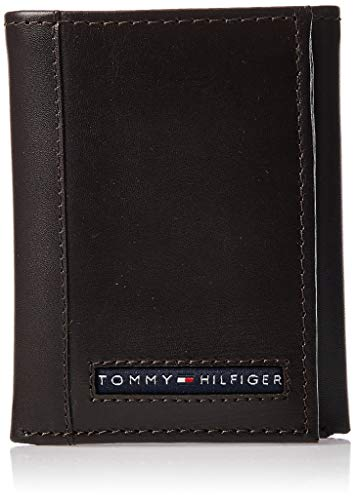 Tommy Hilfiger Men's Leather Cambridge Trifold Wallet,Brown