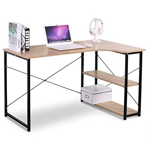 Woltu tsb06hei-a scrivania libreria tavolo da lavoro computer pc scaffale 3 ripiani fioriera moderno in acciaio legno ufficio camera 120x74x71,5 cm