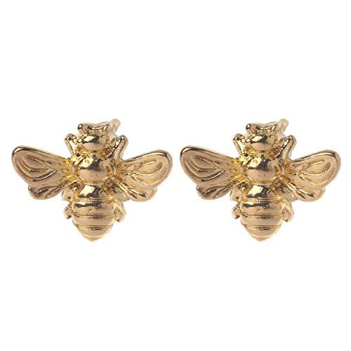 LANDUM Ohrstecker, 1 Paar Nette kleine Honig Biene Ohrstecker Insekt Bumble Bee Schmuck Gold Silber - Gold -