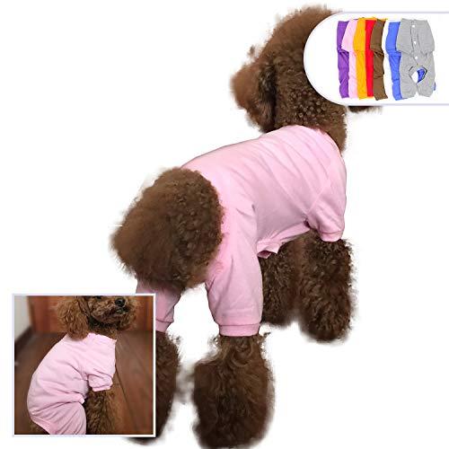 lovelonglong 2019 Haustier Kostüm Pyjama für kleine Hunde 100% Baumwolle Welpen Hund Vier Beine Jumpsuit Teddy 4 Füße Spielzeug Pudel Rosa (Rosa Pudel)