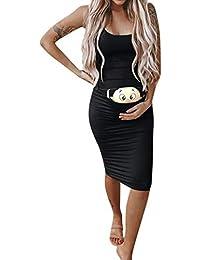 RISTHY Vestido Mujer Maternidad Premamá Ropa Divertida Vestido Embarazada de Moda Impresión de Dibujos Animados Vestido Sin Manga Vestido de Lactancia Faldas Ajustados Verano