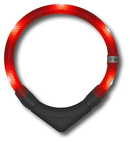 LED Leuchthalsband LEUCHTIE® Plus rot Größe 50 neues Verschlusssystem