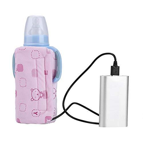 USB Flaschenwärmer Tasche, elektrische Warmhaltetasche Isoliertasche für Babyflaschen für Outdoor Reisen Unterwegs(Rosa)