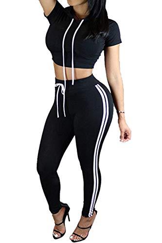 Women's Sport Bodycon Crop Top Long Skinny Pant Short Sleeve Hoodie Set Outfit Sport Sweatsuits (Tops Womens Long)