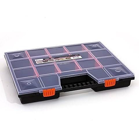 Prosperplast Sortierkasten Sortimentskasten schwarz Deckel transparent Organizer, 1 Stück, 490 x 390 mm, NOR Family