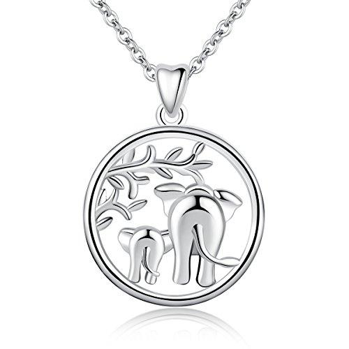 """Collar de plata de ley 925 con colgante de elefante de la suerte """"amor familiar"""", de AEONSLOVE, collar con madre y bebé elefante, 46 cm, joyas para mamá"""