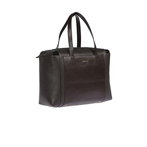 Trussardi Frauen-Handtasche aus echtem Saffiano Leder, 100% Calf - 37x27x18 Cm Dunkelbraun