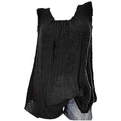 VECDY Blusas para Mujer Elegantes Tallas Grandes, Camiseta Sin Mangas Holgada del Chaleco Algodon Lino Camiseta Suelto Verano Tops Casual Fiesta T-Shirt Ajustable (Negro,4XL)