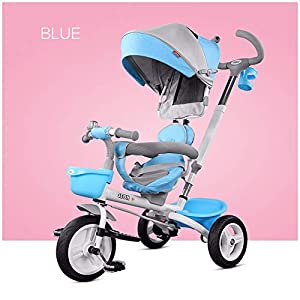 GSDZSY - Foldable Children Tricycle, Pusher Adjusts Height And Control Direction, Seat 360° Rotatable,Rainproof And UV Protection Awning,1-6 Years Old   10