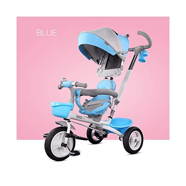 GSDZSY - Foldable Children Tricycle, Pusher Adjusts Height And Control Direction, Seat 360° Rotatable,Rainproof And UV Protection Awning,1-6 Years Old GSDZSY ❀ Material: High carbon steel + ABS + rubber wheel, suitable for children from 6 months to 6 years old, maximum load 30 kg ❀ Features: The push rod can be adjusted in height, the seat can be rotated 360, the backrest can be adjusted, the baby can sit or recline; the adjustable umbrella can be used for different weather conditions ❀ Performance: high carbon steel frame, strong and strong bearing capacity; non-inflatable rubber wheel, suitable for all kinds of road conditions, good shock absorption, seat with breathable fabric, baby ride more comfortable 1