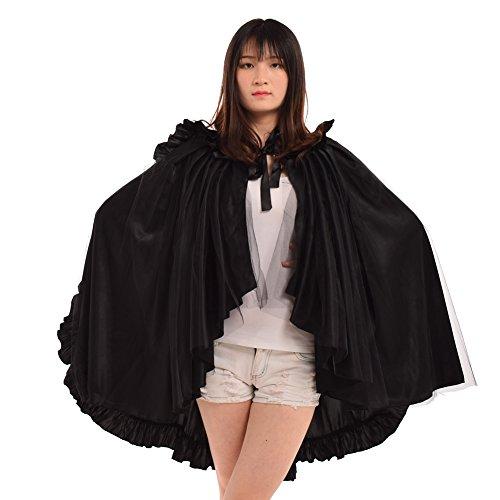 BLESSUME Mujer Vendimia gótico Steampunk Cordón Gasa Brocado Afueras capa Balza bullicio (negro)