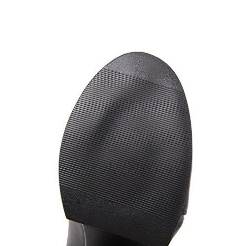 VogueZone009 Damen Blend-Materialien Reißverschluss Knöchel Hohe Hoher Absatz Stiefel Blau