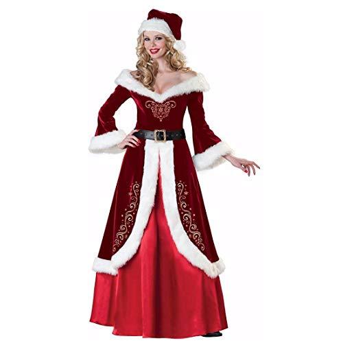 SDLRYF Weihnachtsmann Kostüm Weihnachten Kostüm Erwachsene Weihnachten Königin Prinzessin Kleid Weihnachten Kostüm Santa Weibliche Durchführung Foto (Weibliche Santa Kostüm)