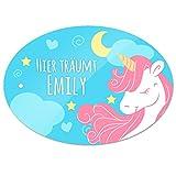 Türschild mit Namen - Hier träumt Emily - und Einhorn-Motiv für Mädchen   Kinderzimmer-Schild