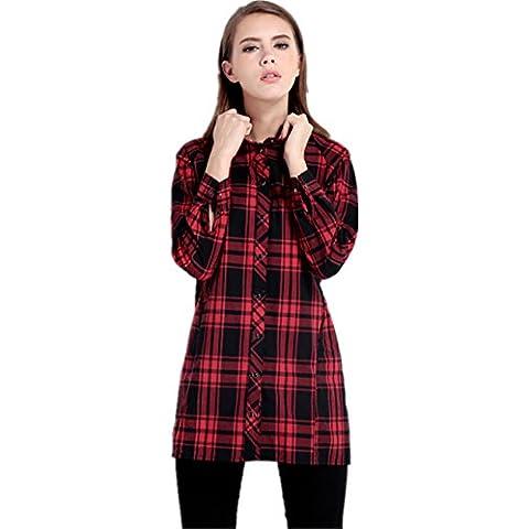 Estilo British Vintage Check Cuadros Gudega de Percalle Plaid Cuello Alto Subido Blusón Blusa Camisero Camisa
