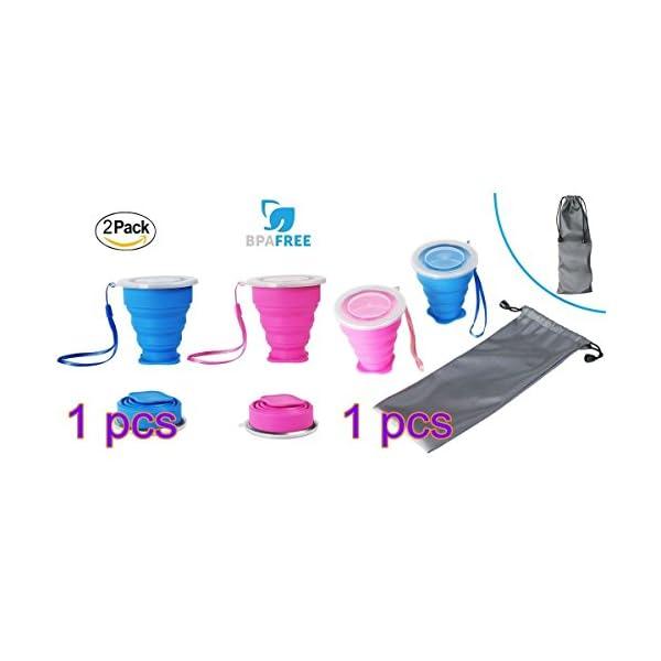 2 pcs Tazas de Viaje 200ml de Silicona Plegable Portátil y Reutilizable,Vaso Con Tapa sin BPA para camping senderismo y… 8