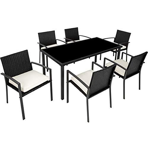 tectake 800663 Salon de Jardin, Ensemble Mobilier de Jardin, 6 Chaises et 1 Table en Résine Tressée Structure Acier - diverses Couleurs - (Noir | No. 403027)