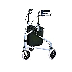 Days Tri Wheel Walker with Loop Lockable Brakes, Easy to Manoeuvre and Height Adjustable Limited Mobility Aid, Comfortable Hand Grips, Folds Flat for Storage, Chrome