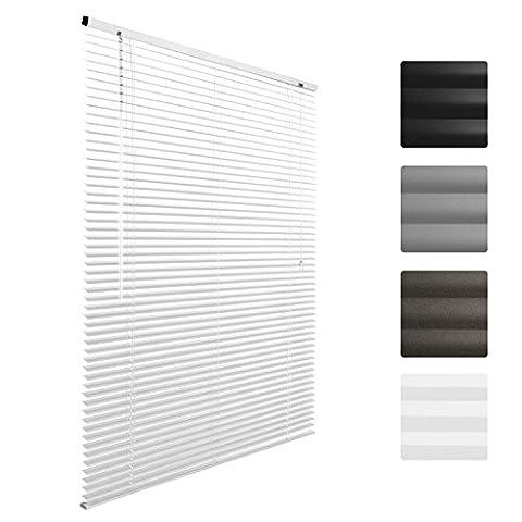 Sol Royal Store venitien en aluminium SolDecor J32 - Blanc - 70 x 130 cm - Montage simple sans vis - fixation inclus
