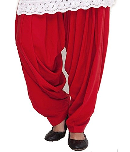 Shiva Collections Women\'s Cotton Patiala Salwar (scs1004_Red_Free Size)