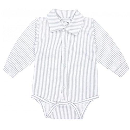 TupTam Baby Jungen Langarmbody mit Kragen, Farbe: Streifenmuster Grau, Größe: 74