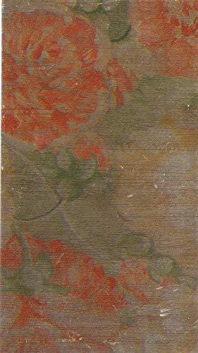 Wachsverzierfolien Kupfer gemustert Anzahl 1 Stück, Größe 225 x 90 mm, Farbe Blumenmuster rot/grün/kupfer
