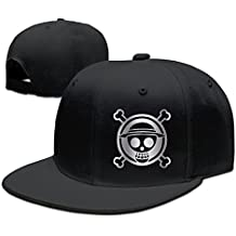 Hittings One Piece Luffy Platinum Logo Baseball Snapback Hat Black Black