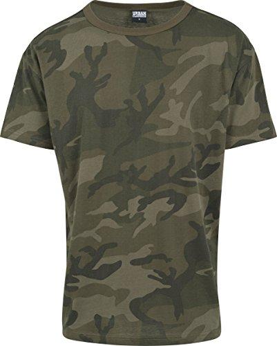 Urban Classics TB1780 Herren Camo Oversized Tee, Kurzarm T-Shirt für Männer IM Angesagten Boxy Cut mit Camouflage All Over Print - Farbe Olive Camo, Größe S (T-shirt Camouflage Urban)