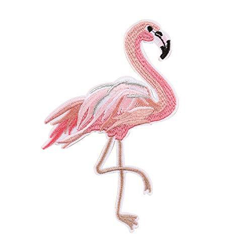 probeninmappx Patches zum Aufbügeln für Jacken, Jeanskappen, Bügelbilder zum Aufbügeln für Kleidung, Flamingo-Muster Niedlicher Stickerei-Patch zum Nähen von Handwerk, 5 * 7cm