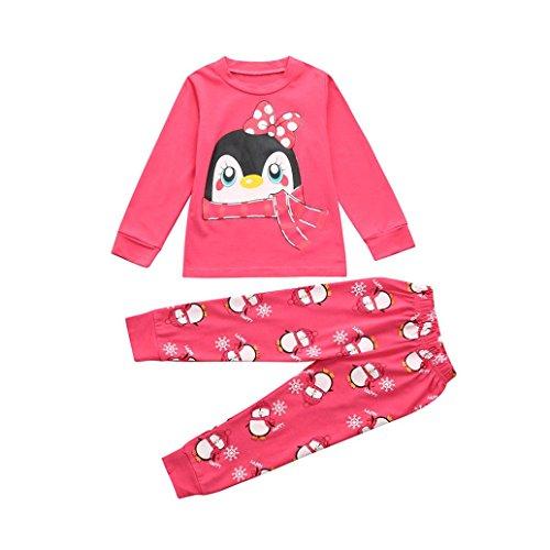 Ensembles de Pyjama Fille 1-7 Ans, Bonjouree T-shirt Hauts à Manches Longues et Pantalon Garçon Costume Imprimé Vêtements de Nuit Bonjouree