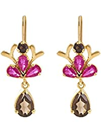 Gehna 18KT Yellow Gold, Ruby and Topaz Drop Earrings for Women
