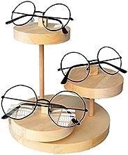 Holder Glasses 3 طبقات الصلبة الخشب النظارات حامل اليدوية جولة النظارات عرض موقف لمكتب مكتب ديكور المنزل Sungl