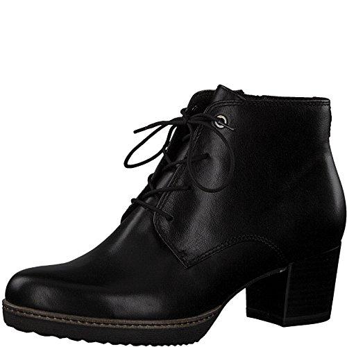 Tamaris Damen Schnürstiefelette 25109-21,Frauen Stiefel,Chukka Boot,Halbstiefel,Schnürboots,Bootie,Reißverschluss,Blockabsatz 5.5cm,Black Leather,EU 40