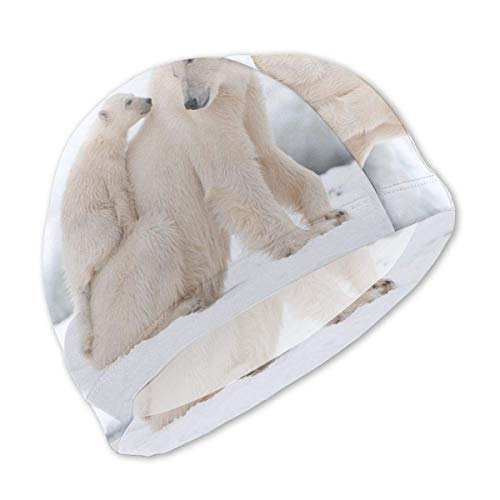 Schwimmhaube, Cute Polar Bear Swim Caps for Kids Boys and Girls Baby Bathing Caps for Long and Short Hair -