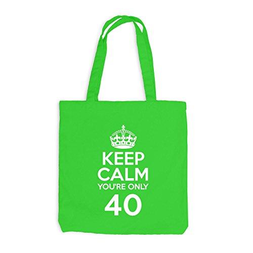 Sacchetto Di Juta - Mantieni La Calma Sei Solo 40 - Compleanno Quaranta Verde Chiaro