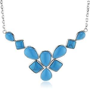 Mike Ellis New York Damen-Halskette Edelstahl Glas blau 42.0 cm S232 IPS