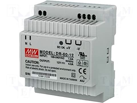Din-Rail Alimentation 54W 12V 4,5A ; MeanWell, DR-60-12