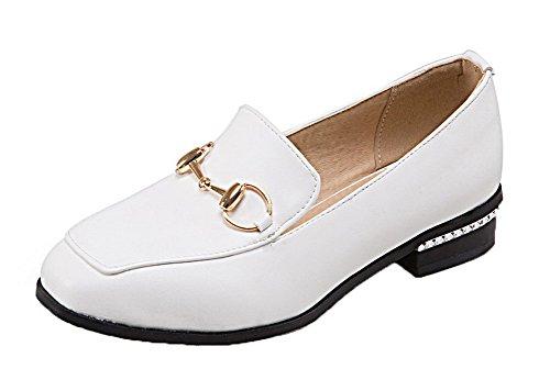 VogueZone009 Femme Tire à Talon Bas PU Cuir Couleurs Mélangées Carré Chaussures Légeres Blanc