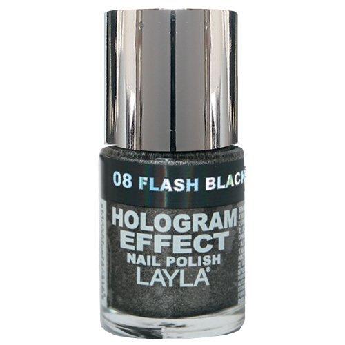 Layla Hologramm Effekt (Layla Cosmetics Hologram Effect Nagellack - flash black, 1er pack (1 x 0.01 l))