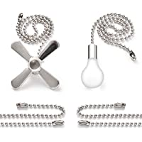 Bronze Pull Chain Set, Sunix Ceiling Fan Pull Chain Included Diameter 3.2 mm Beaded Extensions With 4 Connectors, Silver, One Pair
