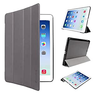 EasyAcc® Ultra Thin APPLE iPad Air Flip Case Smart Cover with Stand / Auto Sleep Wake-up for iPad Air / New Retina iPad 5 Gen (Top Premium PU Leather, Ultra Slim Design, Grey)